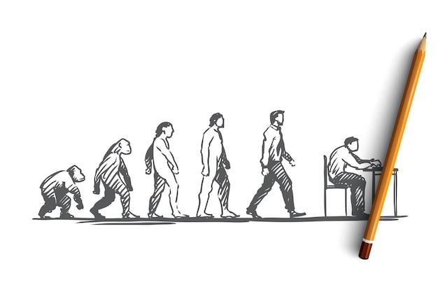 Hand gezeichnete figuren von primaten und menschen evolution konzept skizze