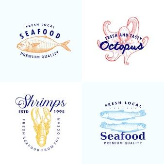 Hand gezeichnete fisch sardellen shripms hummer octopus illustration logo vorlage sammlung für meeresfrüchte marke