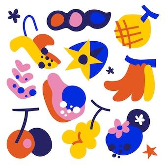 Hand gezeichnete flache abstrakte formensammlung