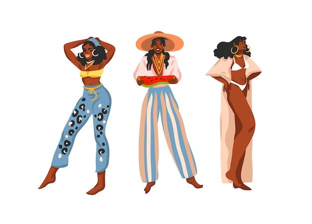 Hand gezeichnete flache abstrakte stock grafische illustration sammlung mit jungen glücklichen positiven schwarzafrikaner, schönheit frauen in sommer outfits isoliert auf weißem hintergrund.