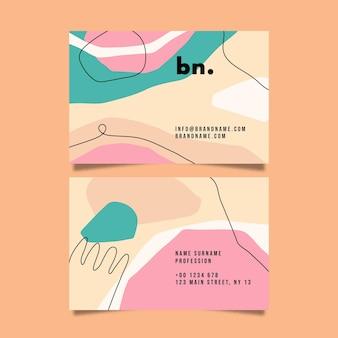 Hand gezeichnete flache designzusammenfassung formt visitenkarten