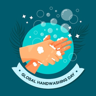 Hand gezeichnete flache globale handwaschtagillustration