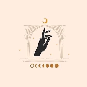 Hand gezeichnete flache grafische illustration des abstrakten lagers