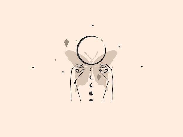 Hand gezeichnete flache grafische illustration des abstrakten vektors auf lager mit logoelement