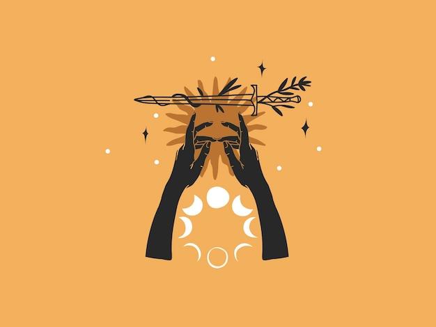 Hand gezeichnete flache grafische illustration des abstrakten vektors auf lager mit logoelementen