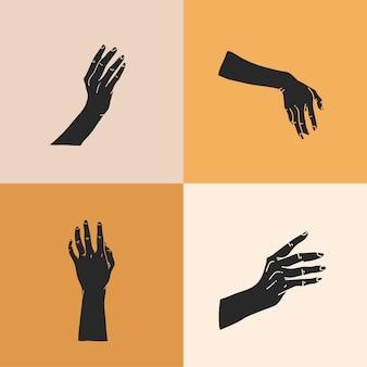 Hand gezeichnete flache grafische illustration mit logoelementen gesetzt, menschliche hände