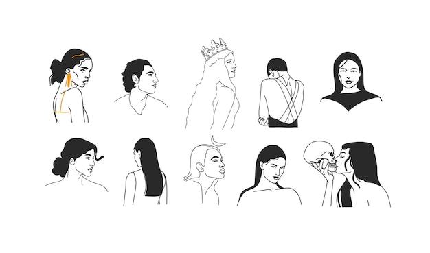 Hand gezeichnete flache grafische illustrationen des abstrakten lagers