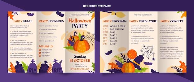 Hand gezeichnete flache halloween-broschürenschablone