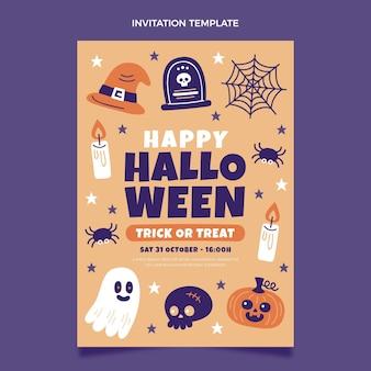 Hand gezeichnete flache halloween-einladungsschablone