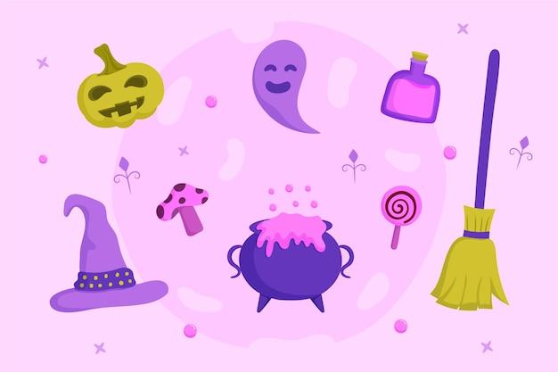 Hand gezeichnete flache halloween-elementsammlung