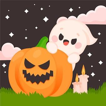 Hand gezeichnete flache halloween-geisterillustration