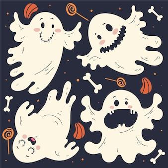 Hand gezeichnete flache halloween-geistersammlung