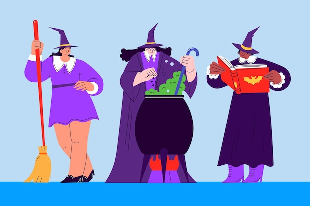 Hand gezeichnete flache halloween-hexensammlung