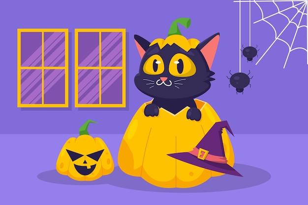 Hand gezeichnete flache halloween-katzenillustration