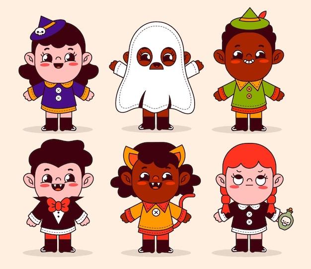 Hand gezeichnete flache halloween-kindersammlung