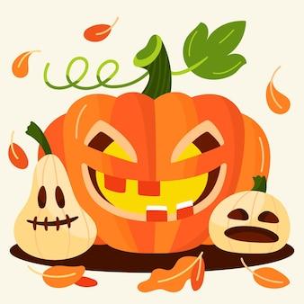 Hand gezeichnete flache halloween-kürbisillustration