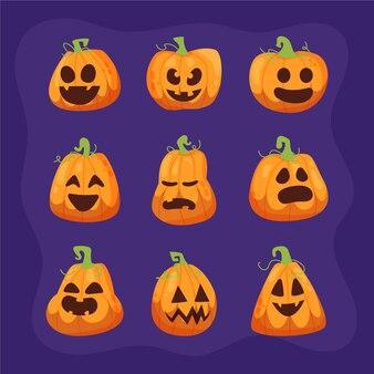 Hand gezeichnete flache halloween-kürbissammlung
