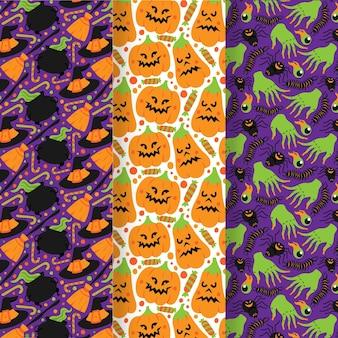 Hand gezeichnete flache halloween-mustersammlung
