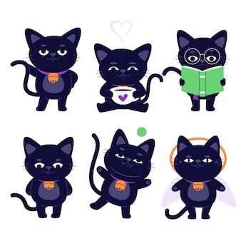 Hand gezeichnete flache halloween schwarze katzensammlung