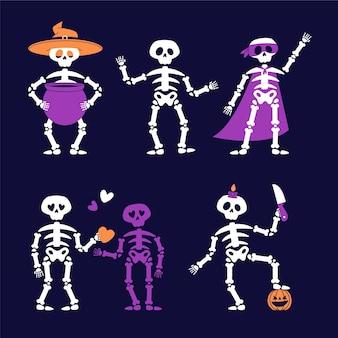 Hand gezeichnete flache halloween-skelette-sammlung