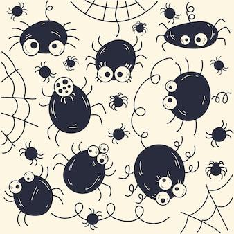 Hand gezeichnete flache halloween-spinnen-sammlung