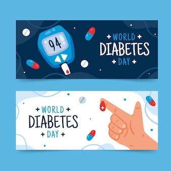 Hand gezeichnete flache horizontale fahnen des weltdiabetestages eingestellt