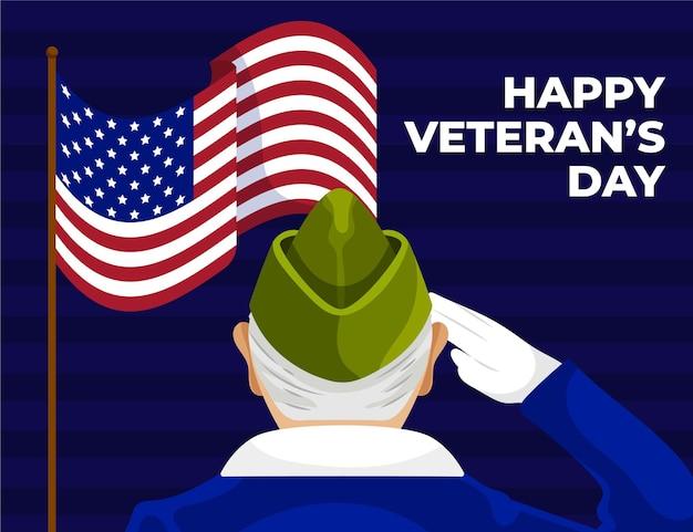 Hand gezeichnete flache illustration des veteranentages
