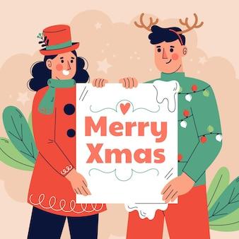 Hand gezeichnete flache illustration des weihnachtscharakters, der leere fahne hält