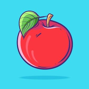 Hand gezeichnete flache karikaturart der roten apfelfrucht