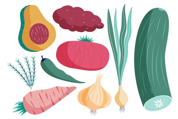 Hand gezeichnete flache vegetarische lebensmittelkollektion