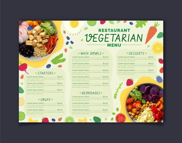 Hand gezeichnete flache vegetarische speisenmenüschablone