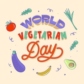 Hand gezeichnete flache vegetarische tagesbeschriftung der welt