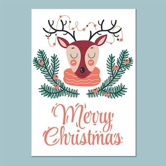 Hand gezeichnete flache vertikale plakatschablone der frohen weihnachten