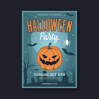Hand gezeichnete flache vertikale plakatschablone der halloween-party mit foto