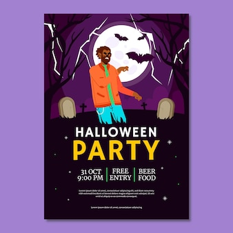 Hand gezeichnete flache vertikale plakatschablone der halloween-party