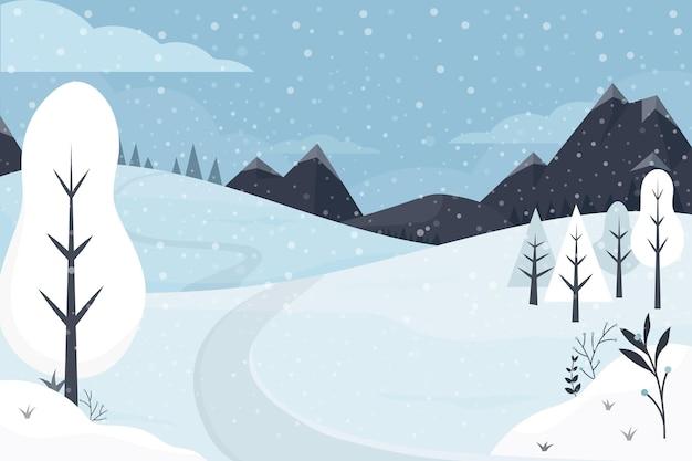 Hand gezeichnete flache winterlandschaftsillustration