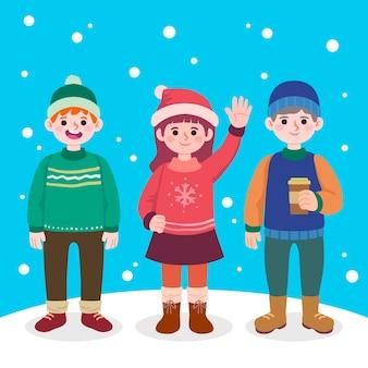 Hand gezeichnete flache winterleutesammlung