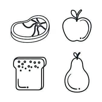 Hand gezeichnete fleisch-, frucht- und brotscheibe über weißem hintergrund. vektor-illustration.