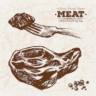 Hand gezeichnete fleischprodukte