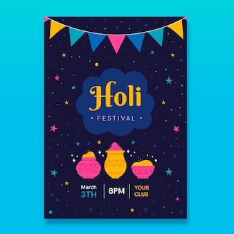 Hand gezeichnete flyer-schablone des holi-festivals