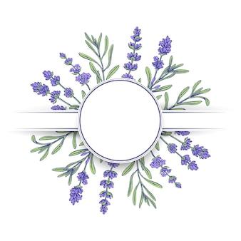 Hand gezeichnete form mit lavendel