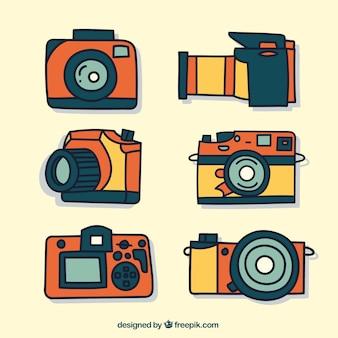 Hand gezeichnete fotokameras sammlung
