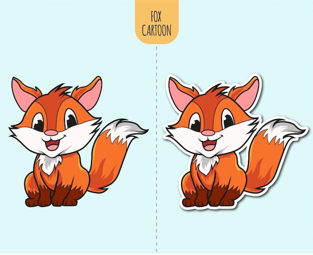 Hand gezeichnete fox cartoon illustration mit aufkleber design option