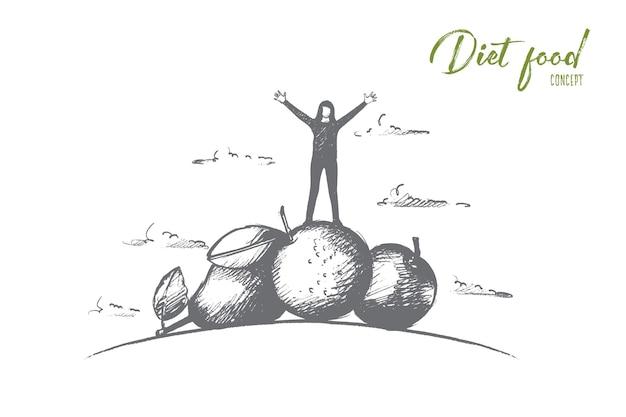 Hand gezeichnete frau, die auf stapel von früchten und gemüse steht