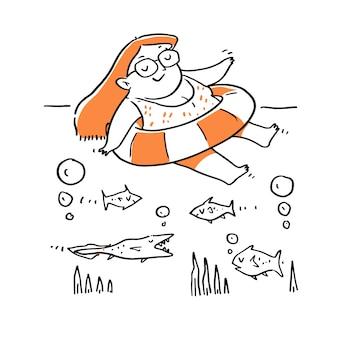 Hand gezeichnete frau, die im schwimmbad mit gummiring entspannt.