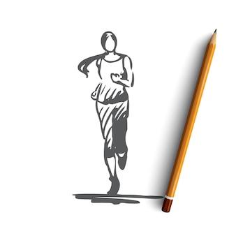 Hand gezeichnete frau, die joggt