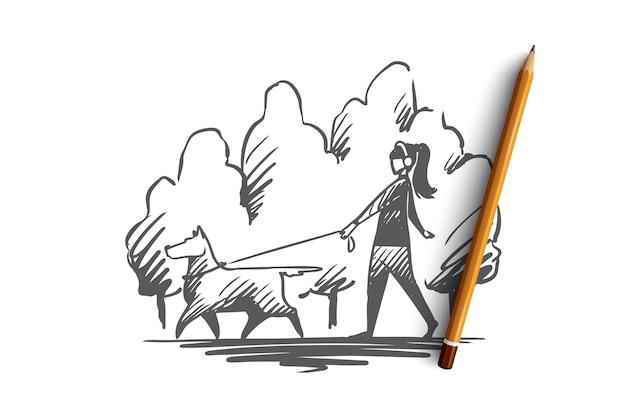 Hand gezeichnete frau, die mit ihrem hund auf einer leine in der stadtparkkonzeptskizze geht Premium Vektoren