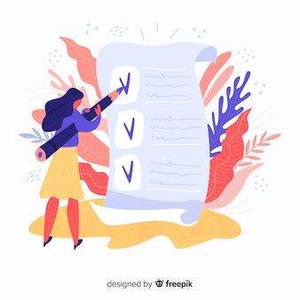 Hand gezeichnete frau, die riesige checklistenillustration überprüft