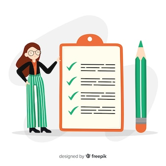 Hand gezeichnete frau, die riesigen checklistenhintergrund überprüft