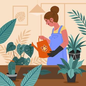 Hand gezeichnete frau, die sich um pflanzen kümmert